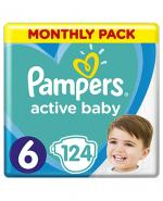 PAMPERS ACTIVE BABY DRY 6 EXTRA LARGE Pieluchy 15+ kg - 124 szt. - Apteka internetowa Melissa