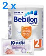 BEBILON 2 COMFORT PROEXPERT Mleko modyfikowane w proszku - 2 x 400 g + CLEANIC KINDII NEW BABY CARE Chusteczki do delikatnej skóry noworodków i niemowląt - 60 szt. GRATIS !  - Apteka internetowa Melissa
