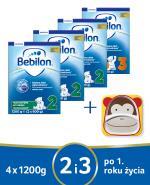 BEBILON 2 Z PRONUTRA+ Mleko modyfikowane w proszku - 3 x 1200 g + BEBILON 3 JUNIOR Z PRONUTRA+ Mleko modyfikowane w proszku - 1 x 1200 g + Miseczka - Apteka internetowa Melissa