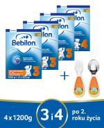 BEBILON 3 JUNIOR Z PRONUTRA+ Mleko modyfikowane w proszku - 3 x 1200 g + BEBILON 4 JUNIOR Z PRONUTRA+ Mleko modyfikowane w proszku - 1 x 1200 g + Sztućce - Apteka internetowa Melissa