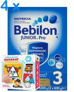 BEBILON 3 JUNIOR Z PRONUTRA+ Mleko modyfikowane w proszku - 4 x 1200 g + Prezent Kreatywny zestaw puzzli CzuCzu - Apteka internetowa Melissa