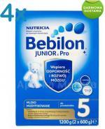 BEBILON 5 JUNIOR Z PRONUTRA+ Mleko modyfikowane w proszku - 4 x 1200 g + prezent torba  - Apteka internetowa Melissa