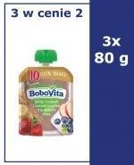BOBOVITA  MUS Jagody i truskawki z owocami i jogurtem oraz delikatne zboża, po 10 miesiącu - 3 x 80 g - Apteka internetowa Melissa