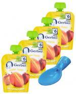GERBER Deserek Jabłko, mango po 6 m-cu - 4 x 90 g + Prezent dokręcana łyżeczka  - Apteka internetowa Melissa