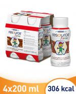 RESOURCE JUNIOR Smak czekoladowy - 4 x 200 ml Wysokoenergetyczny środek spożywczy - cena, opinie, wskazania