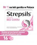 STREPSILS BEZ CUKRU O smaku truskawkowym - 16 past. - Apteka internetowa Melissa