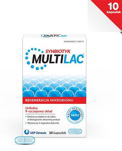 MULTILAC Synbiotyk - 10 kaps. probiotyk i prebiotyk - opinie, stosowanie, ulotka - Drogeria Melissa