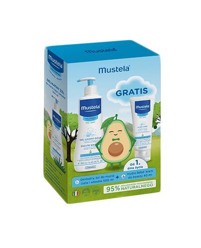 Mustela Delikatny żel do mycia ciała i włosów - 500 ml + Krem do twarzy - 40 ml - 1 szt. - cena, opinie, właściwości - Drogeria Melissa