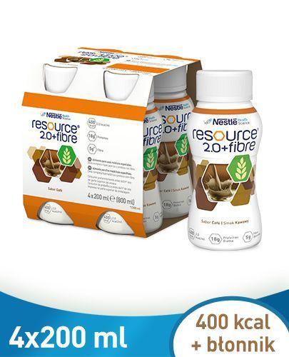 RESOURCE 2.0+FIBRE Smak kawowy - 4 x 200 ml - Apteka internetowa Melissa
