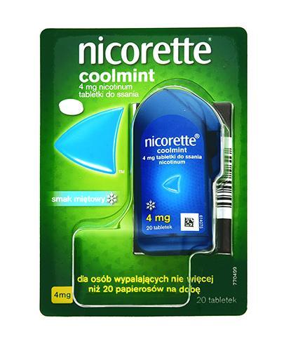 NICORETTE Coolmint 4 mg - 20 tabl. Na rzucanie palenia - cena, opinie, właściwości