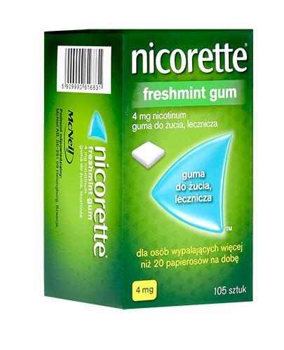 NICORETTE Freshmint 4 mg - 105 szt. Na rzucanie palenia - cena, opinie, stosowanie