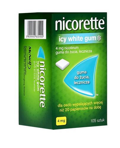 NICORETTE Icy White 4 mg - 105 szt. Miętowe gumy na rzucanie palenia - cena, opinie, właściwości