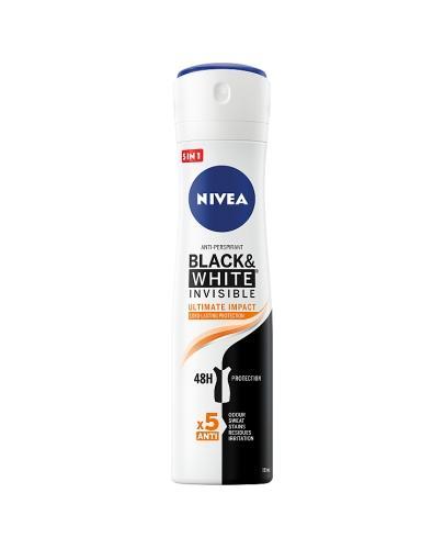 Nivea Black & White Invisible Ultimate Impact Antyperspirant 48h - 150 ml - cena, opinie, właściwości  - Apteka internetowa Melissa