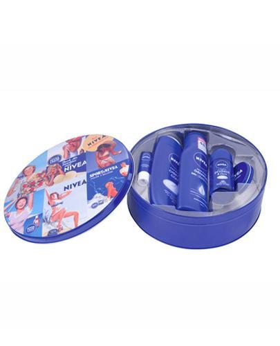 NIVEA  Zestaw Pomadka - 5,5 ml + Żel pod prysznic - 250 ml + Mleczko do ciała - 250 ml + Antyperspirant Roll-on - 50 ml + Krem - 30 ml  - Drogeria Melissa
