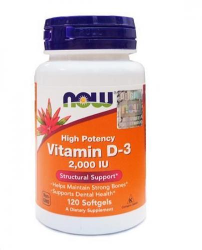 NOW FOODS Vitamin D-3 2000 IU - 120 kaps.