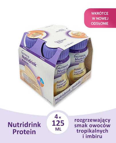 NUTRIDRINK PROTEIN Rozgrzewające owoce tropikalne - 4 x 125 ml. Dla pacjentów onkologicznych.