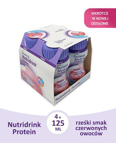 NUTRIDRINK PROTEIN Rześki smak czerwonych owoców - 4 x 125 ml. Dla pacjentów onkologicznych.