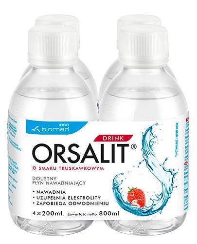 ORSALIT DRINK O smaku truskawkowym - 4 x 200 ml Płyn nawadniający - cena, opinie, właściwości