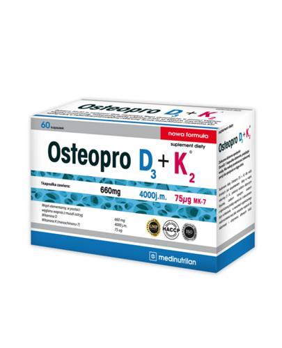 OSTEOPRO D3 + K2 - 60 kaps. Naturalne wsparcie dla odporności i utrzymania zdrowych kości. Data ważności: 2019.05.31 - Apteka internetowa Melissa