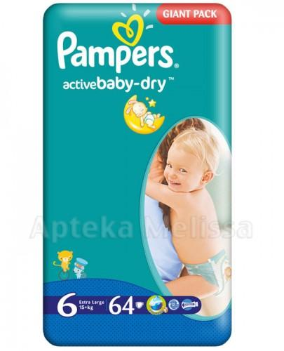PAMPERS ACTIVE BABY-DRY 6 EXTRA LARGE 15+ Pieluchy - 64 szt. - Apteka internetowa Melissa