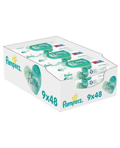 Pampers Aqua Pure Chusteczki pielęgnacyjne - 9 x 48 szt. Do skóry wrażliwej - cena, opinie, stosowanie - Drogeria Melissa