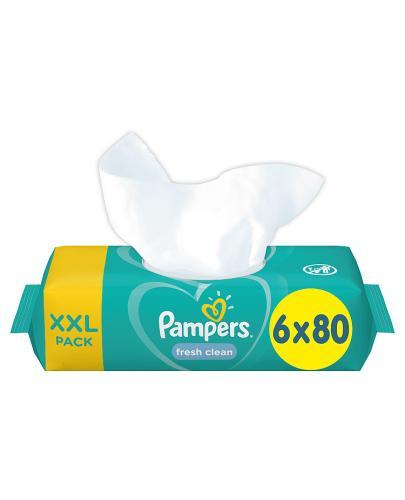 PAMPERS Fresh Clean Chusteczki nawilżane dla niemowląt - 6 op., 480 szt. - cena, opinie, właściwości