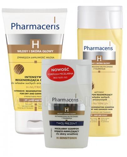 PHARMACERIS H NUTRIMELIN Aktywny szampon regenerujący do włosów suchych - 250 ml + PHARMACERIS H NUTRIGIN Regenerująca odżywka do włosów suchych - 150 ml + Szampon H-sensitonin - 125 ml GRATIS !  - Apteka internetowa Melissa