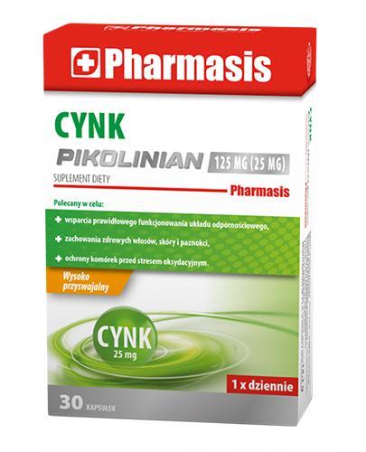 Pharmasis Cynk Pikolinian 125 mg - 30 kaps. - cena, opinie, dawkowanie - Drogeria Melissa
