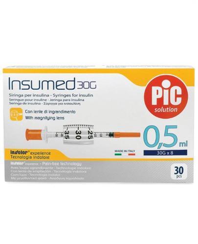 Pic Solution Insumed 0,5 ml 30G x 8 mm Jednorazowe strzykawki do insuliny + szkło powiększające - 30 szt. - cena, opinie, właściwości - Drogeria Melissa