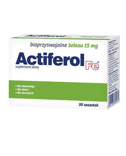 ACTIFEROL FE 15 mg - 30 sasz. Data ważności: 2018.02.28 + ACTIFEROL FE 30 mg - 30 kaps. Data ważności: 2016.10.31 GRATIS !