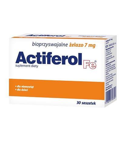 ACTIFEROL FE 7 mg - 30 sasz. Data ważności: 2017.12.31 + ACTIFEROL FE 30 mg - 30 kaps. Data ważności: 2016.10.31 GRATIS !
