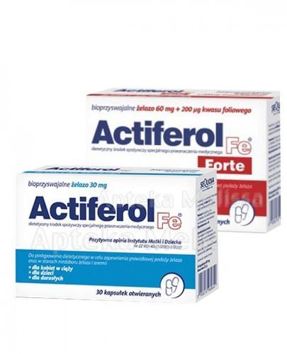 ACTIFEROL FE FORTE - 30 kaps. Data ważności: 2017.09.30 + ACTIFEROL FE 30 mg - 30 kaps. Data ważności: 2016.10.31 GRATIS !