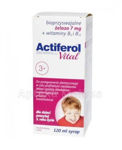 ACTIFEROL VITAL Syrop od 3 roku życia - 120 ml Data ważności: 2017.09.30 + ACTIFEROL FE 30 mg - 30 kaps. Data ważności: 2016.10.31 GRATIS !