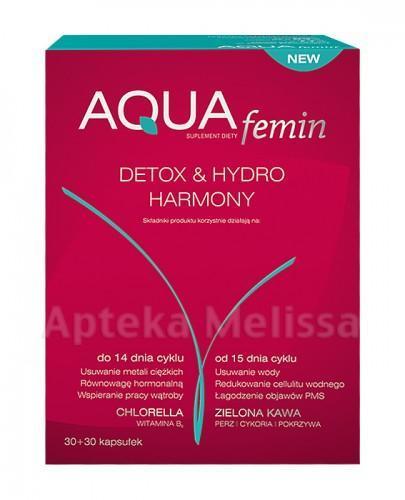 AQUA FEMIN DETOX&HYDRO HARMONY - 30 kaps. + 30 kaps. Data ważności: 2019.04.30 - Apteka internetowa Melissa