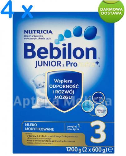 BEBILON 3 JUNIOR Z PRONUTRA Mleko modyfikowane w proszku - 4 x 1200 g + Bobovita kaszka - 400 g GRATIS !