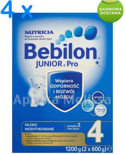 BEBILON 4 JUNIOR Z PRONUTRA Mleko modyfikowane w proszku - 4 x 1200 g  + Bobovita kaszka - 400 g GRATIS !