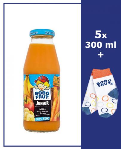 BOBO FRUT JUNIOR Sok jabłko, banan i marchewka po 12 m-cu - 5 x 300 ml + Torba bobo frut - Apteka internetowa Melissa