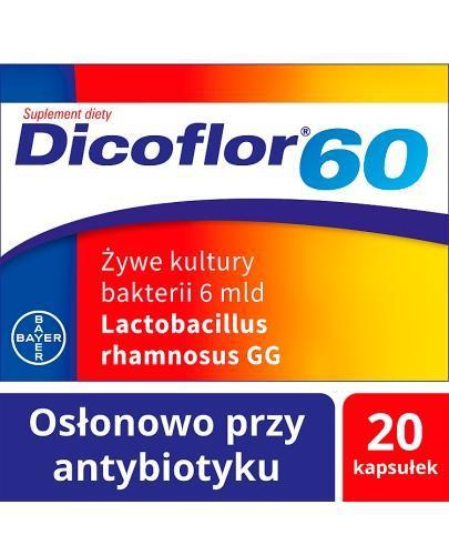 DICOFLOR 60 - 20 kaps. W antybiotykoterapii u dzieci >3 r.ż. i dorosłych.