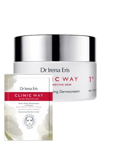Dr Irena Eris Clinic Way Dermokrem aktywnie wygładzający 1° krem do twarzy na dzień - 50 ml + DR IRENA ERIS CLINIC WAY Dermo-maska odmładzająca na tkaninie - 1 szt. - Apteka internetowa Melissa