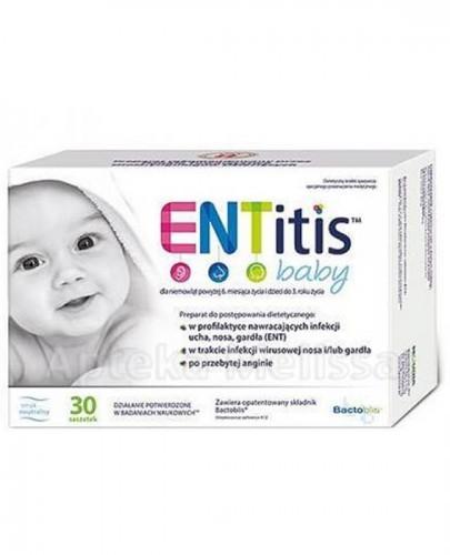 ENTITIS BABY Smak neutralny - 30 sasz. Dla równowagi fizjologicznej mikroflory jamy ustnej i nosogardzieli u dzieci.