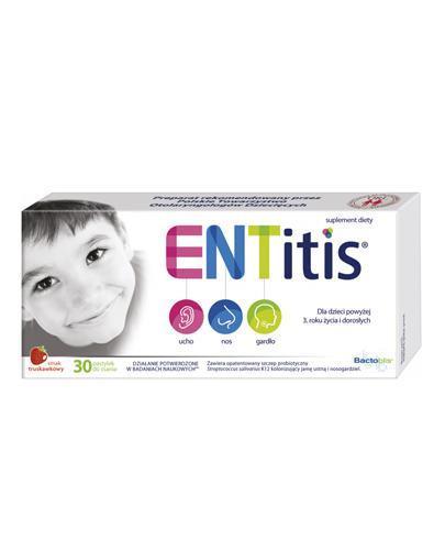 ENTitis Smak truskawkowy - 30 pastylek. Na infekcje ucha, nosa i gardła - cena, opinie, właściwości