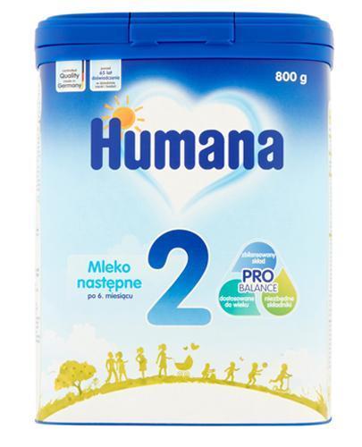 HUMANA 2 Mleko modyfikowane w proszku następne dla niemowląt - 800 g + HUMANA 100% ORGANIC Mus Jabłko-Gruszka-Truskawka po 8 miesiącu - 90 g - Apteka internetowa Melissa