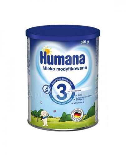 HUMANA 3 Mleko modyfikowane w proszku następne - 350 g + HUMANA Woda dla niemowląt - 1,5 l GRATIS !