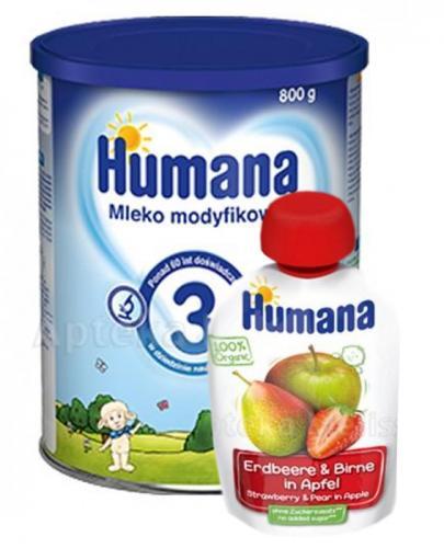 HUMANA 3 Mleko modyfikowane w proszku  - 800 g + HUMANA 100% ORGANIC Mus Jabłko-Gruszka-Truskawka po 8 miesiącu - 90 g - Apteka internetowa Melissa