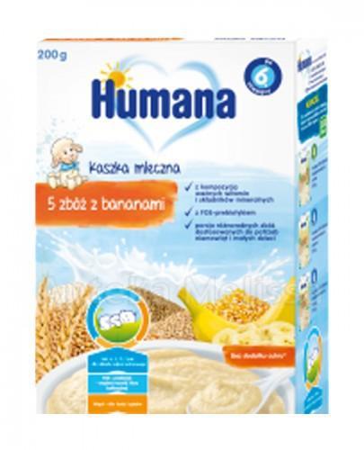 HUMANA Kaszka mleczna 5 zbóż z bananami - 200 g + Humana 2 mleko następne 3x28g GRATIS ! - Apteka internetowa Melissa