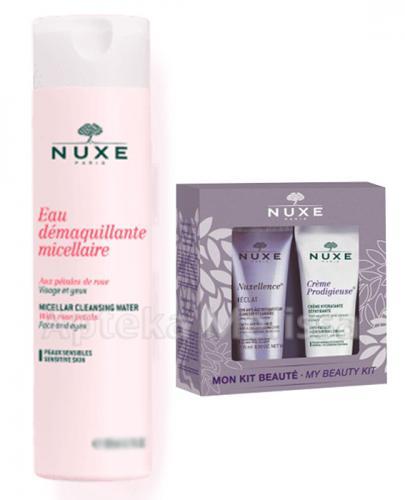 NUXE PŁATKI RÓŻY Woda micelarna do demakujażu twarzy - 400 ml + Zestaw Nuxellence - 15 ml + Creme prodigieuse - 15 ml - Apteka internetowa Melissa