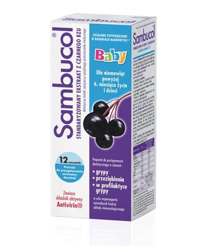 SAMBUCOL BABY Standaryzowany ekstrakt z owoców czarnego bzu - 12 sasz. - Apteka internetowa Melissa
