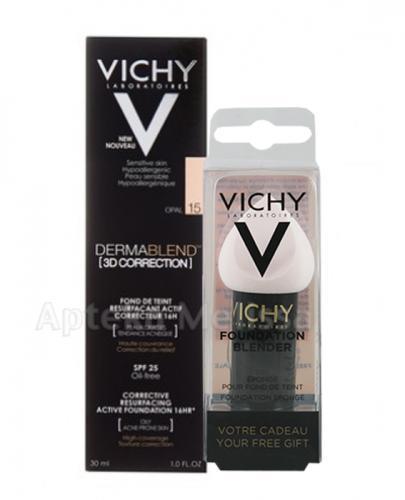 VICHY DERMABLEND Podkład wyrównujący korekta 3D 15 - 30 ml + Prezent Gąbka blender do makijażu - Apteka internetowa Melissa