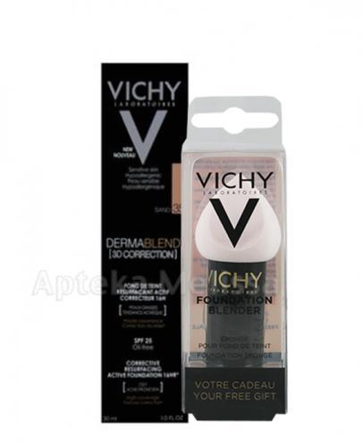 VICHY DERMABLEND Podkład wyrównujący korekta 3D 35 - 30 ml + Prezent Gąbka blender do makijażu - Apteka internetowa Melissa