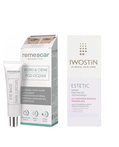 REMESCAR innowacyjny preparat niweluje worki & cienie pod oczami - 8 ml + Iwostin Estetic Serum odżywczo - liftingujące - 30 ml